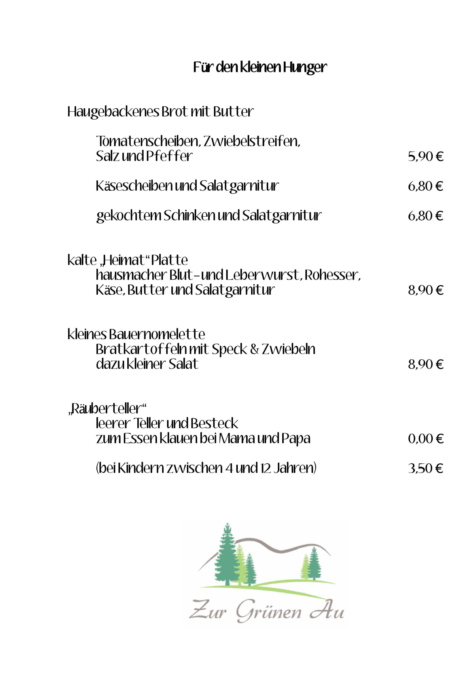 Speisekarte Zur Grünen Au